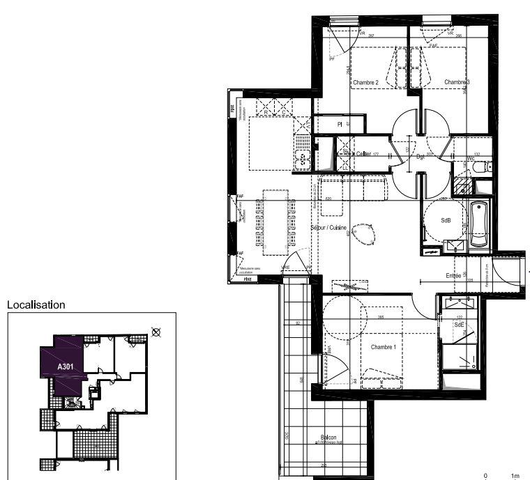 SAINT-HELIER - Appartement 4 pièces - 81.55 m²