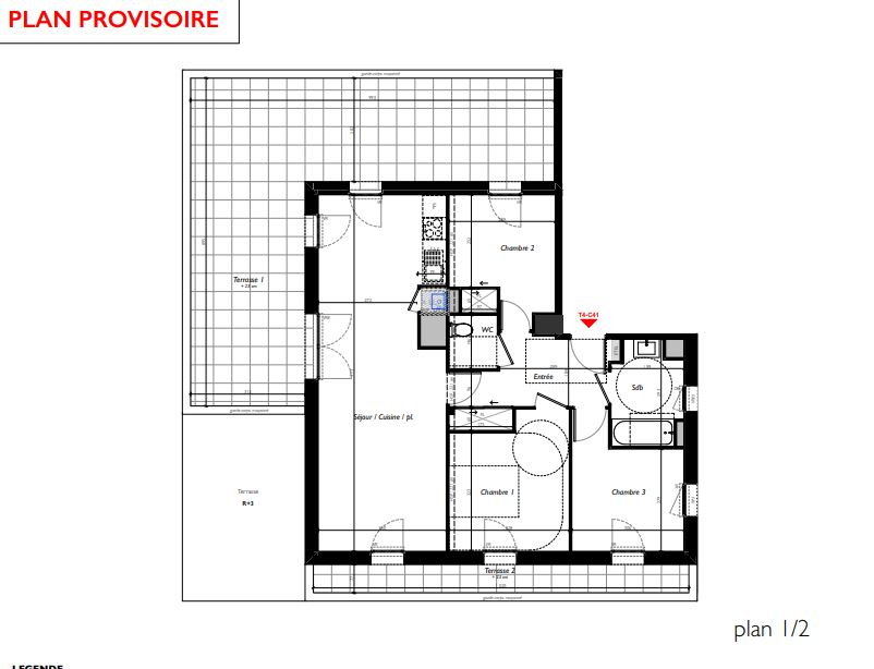 VEZIN LE COQUET - T4 de 79.09 m² avec 55.12m² de terrasses !