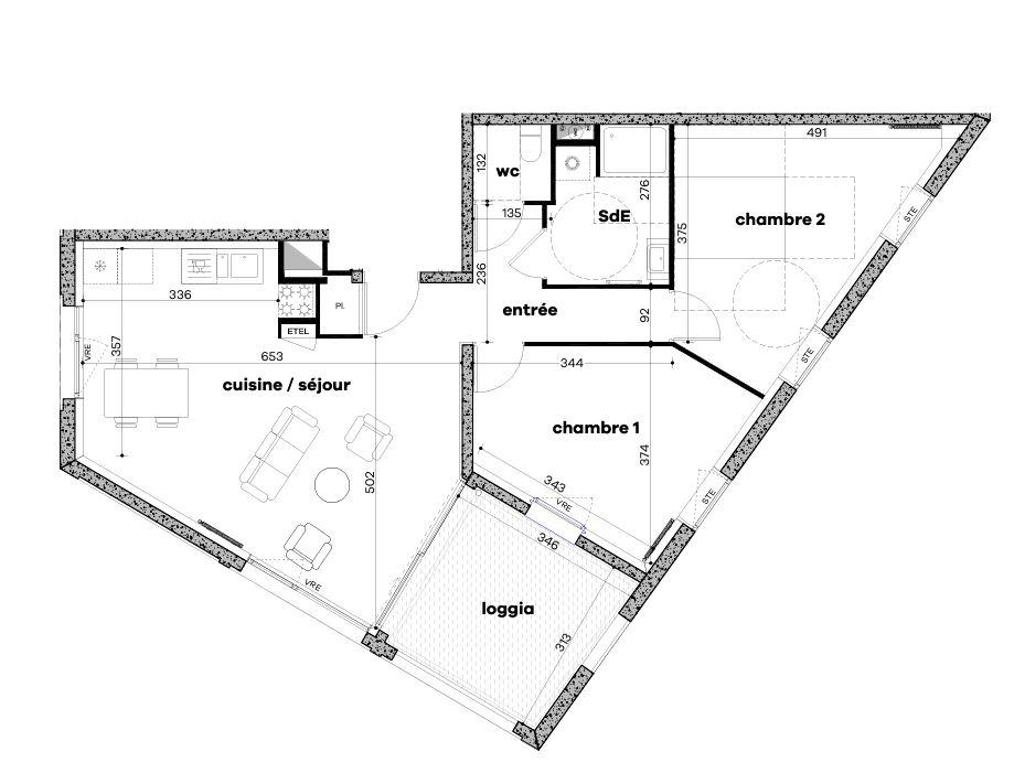 RENNES Villebois Mareuil - T3 de 70.35 m² avec grande terrasse