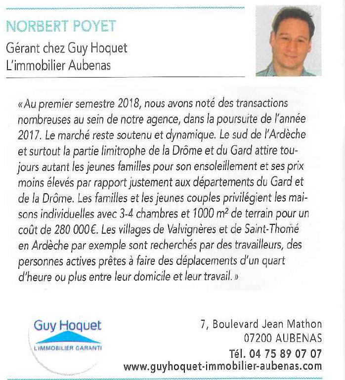 Norbert POYET, Responsable de l'Agence Guy Hoquet l'Immobilier s'exprime sur le marché Immobilier