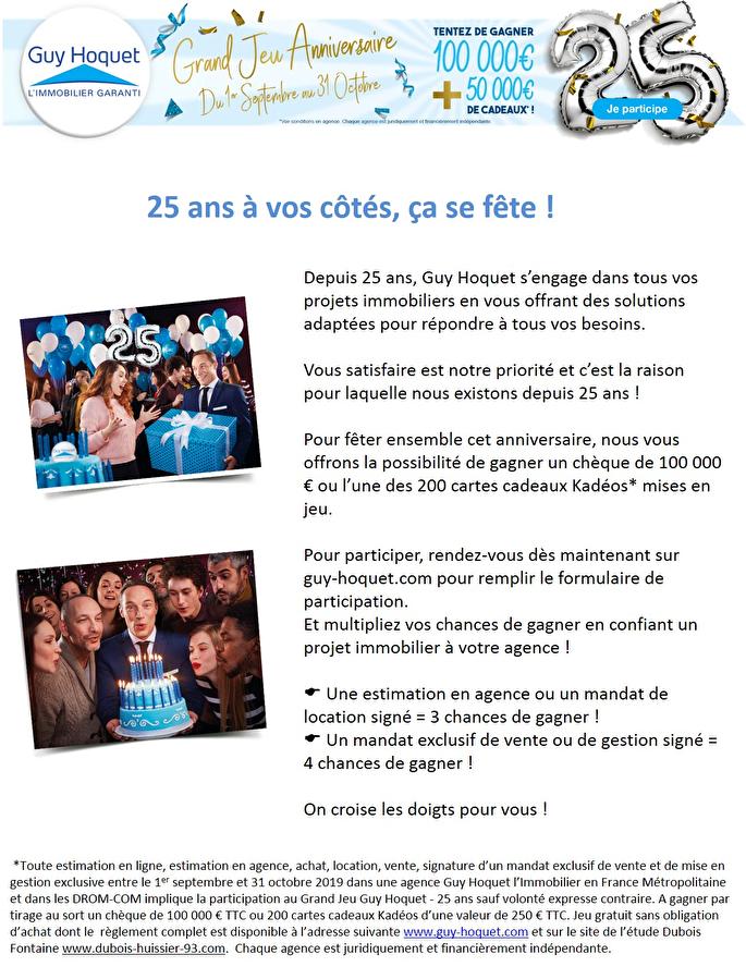 Guy Hoquet L'Immobilier fête ses 25 ans !