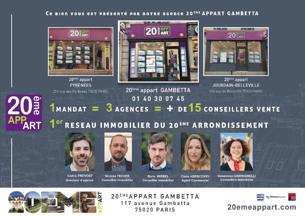 Vente Appartement de 3 pièces 48 m² - PARIS 75019   20ème APPART GAMBETTA - AR photo8