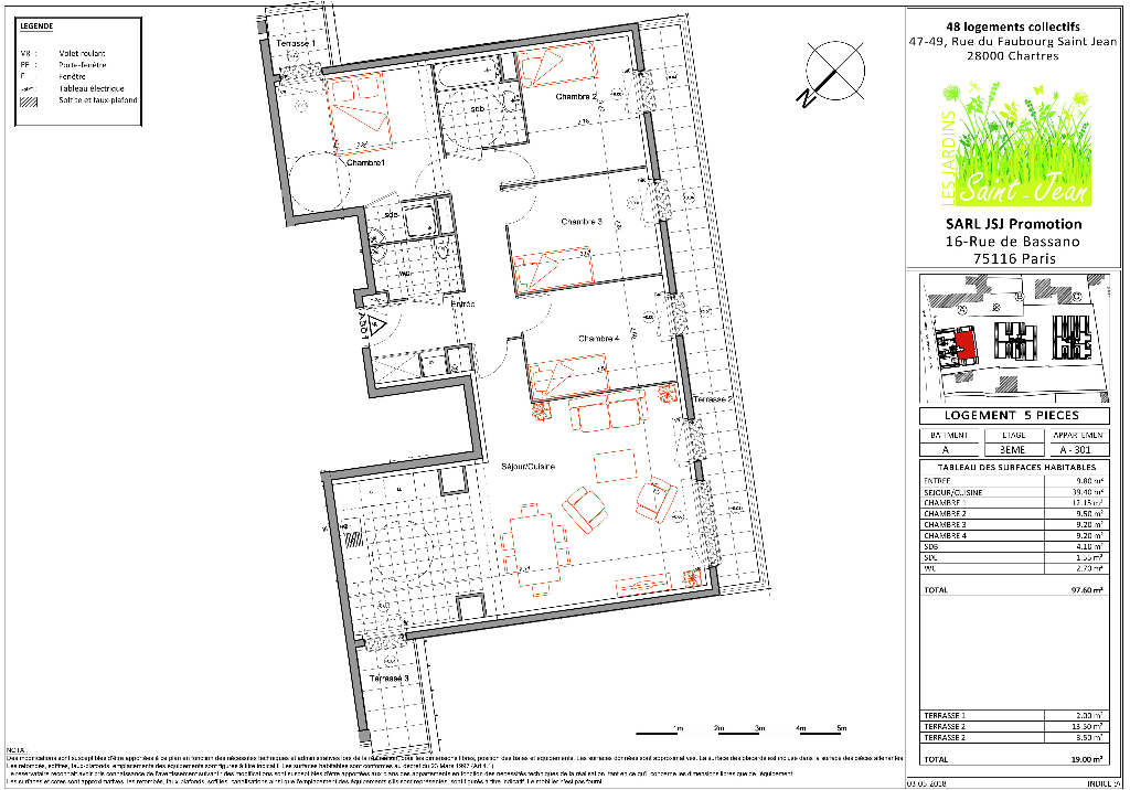 Appartement 5 pièces 97 m² à CHARTRES