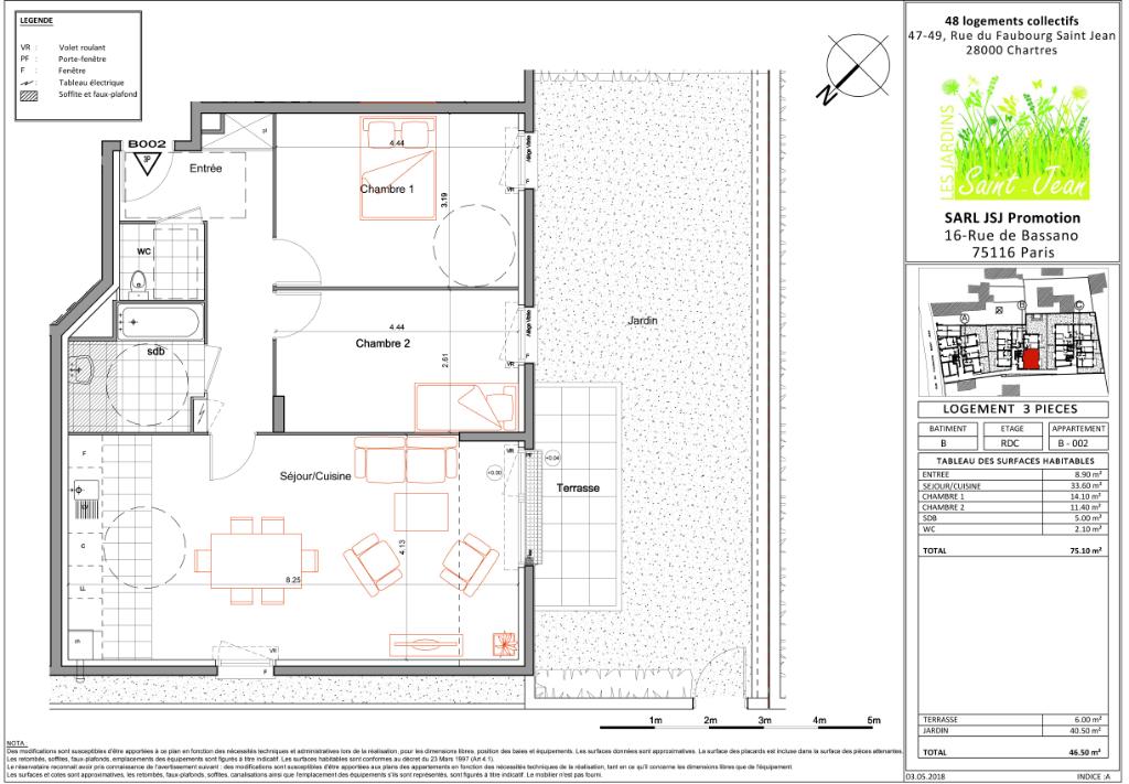 Appartement 3 pièces 75 m² à CHARTRES