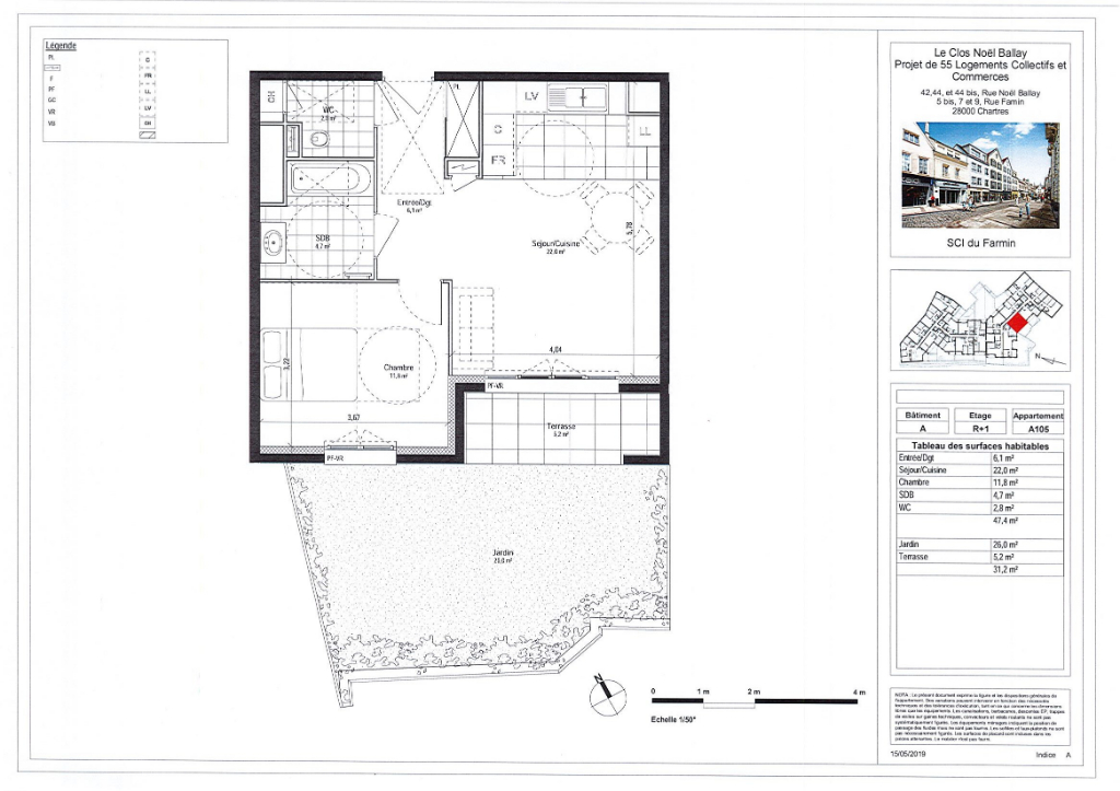Appartement 2 pièces 47 m² à CHARTRES