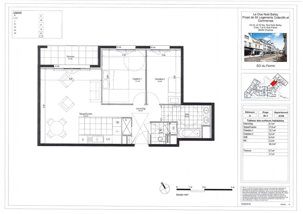 Appartement 3 pièces 64 m² à CHARTRES