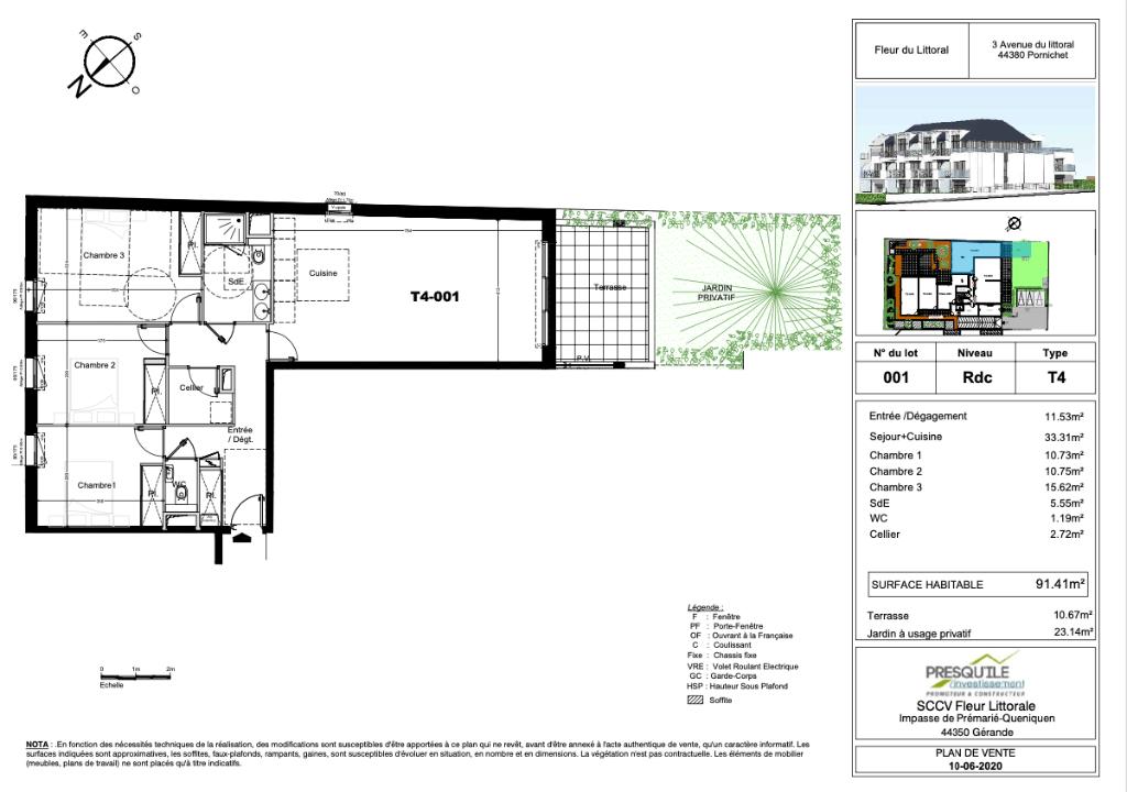 Programme NEUF  à  Pornichet - Appartement T4  en rez de jardin de 91.41 m2