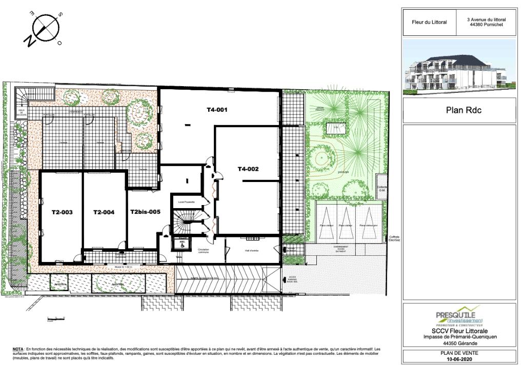 Programme NEUF  à  Pornichet - Appartement  T4 en rez de jardin - de 96.60 m2