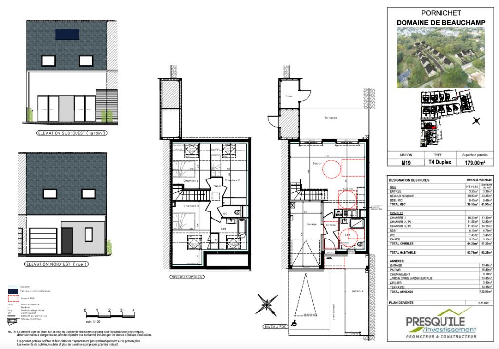 A vendre Maison T4 Duplex de 83,75 m2 - Programme Neuf à Pornichet sur parcelle de 179 m2