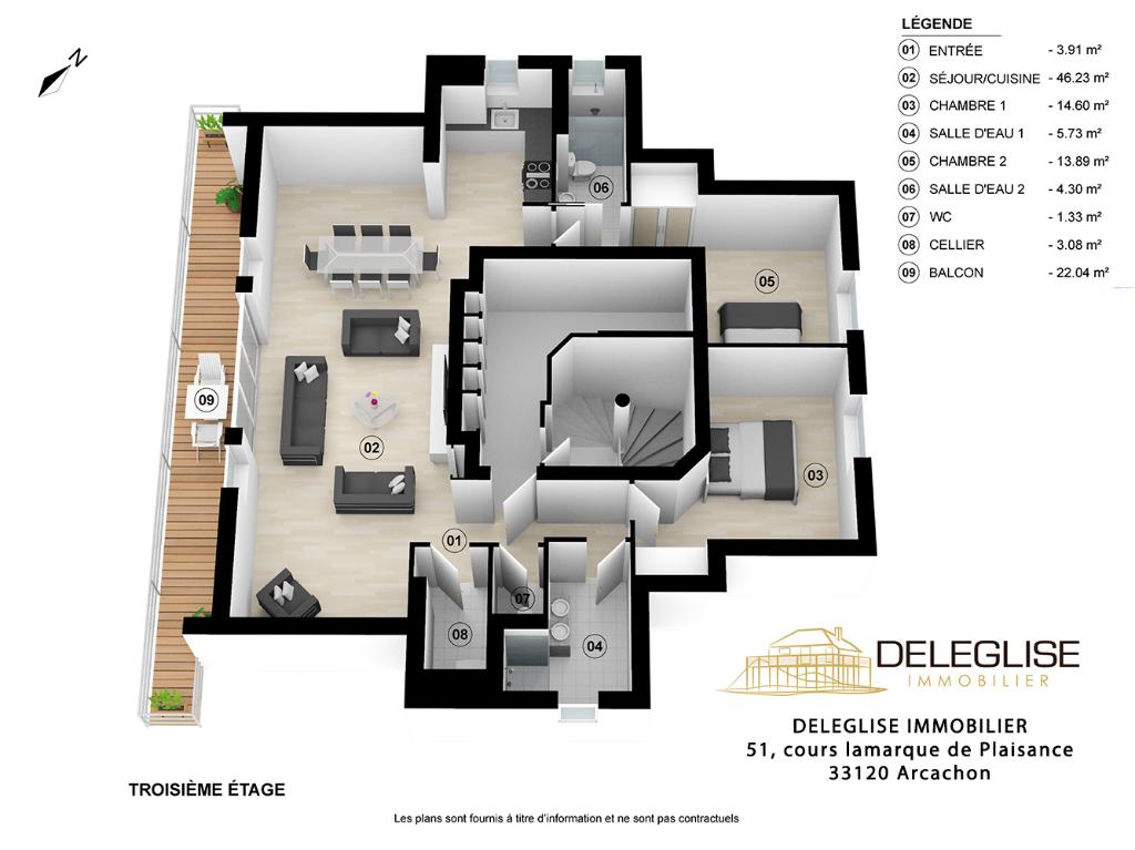 Dernier étage- T4 -  Arcachon