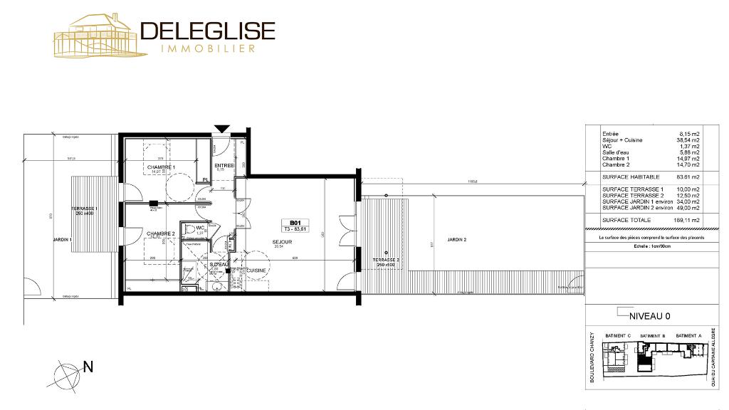 Appartement T3 - 83m2 avec jardin vue bassin