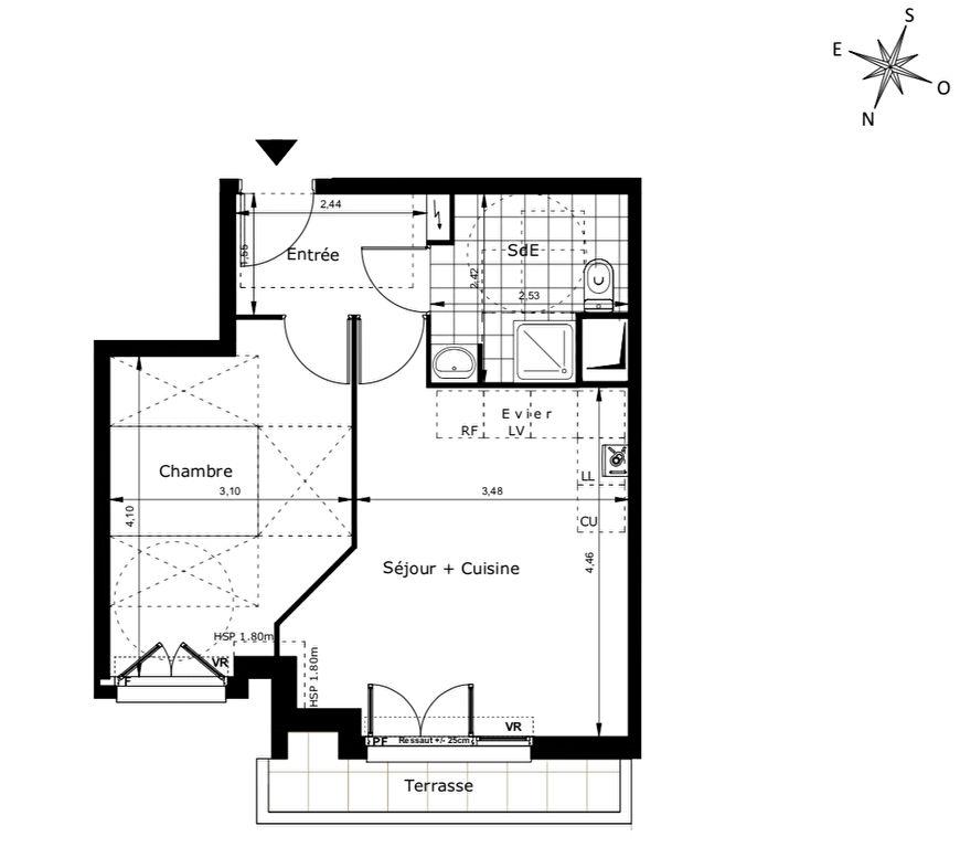 Duplex T2 avec balcon à 600m du RER B