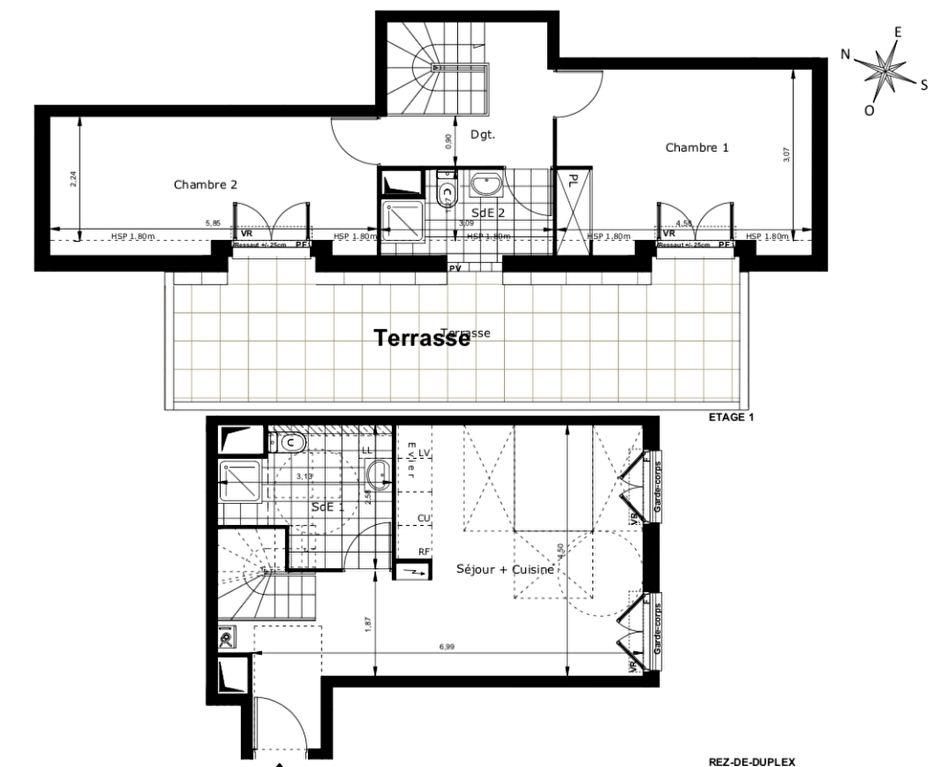 Duplex T3 avec terrasse à 600m du RER B