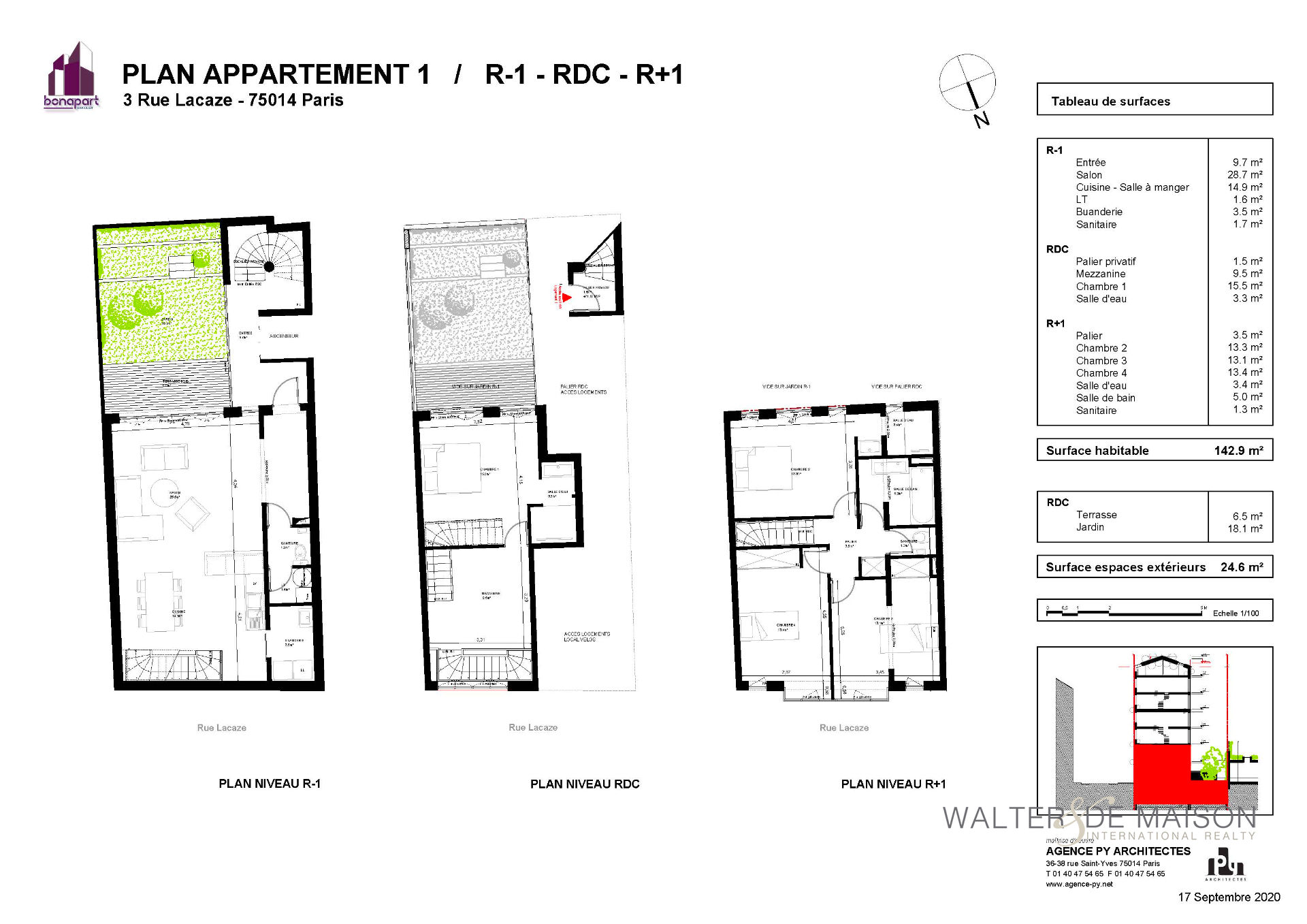 Appartement 5 pièce(s) 142.9 m²                         75014 PARIS